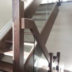 Oak pocket staircase with glass and modern railings